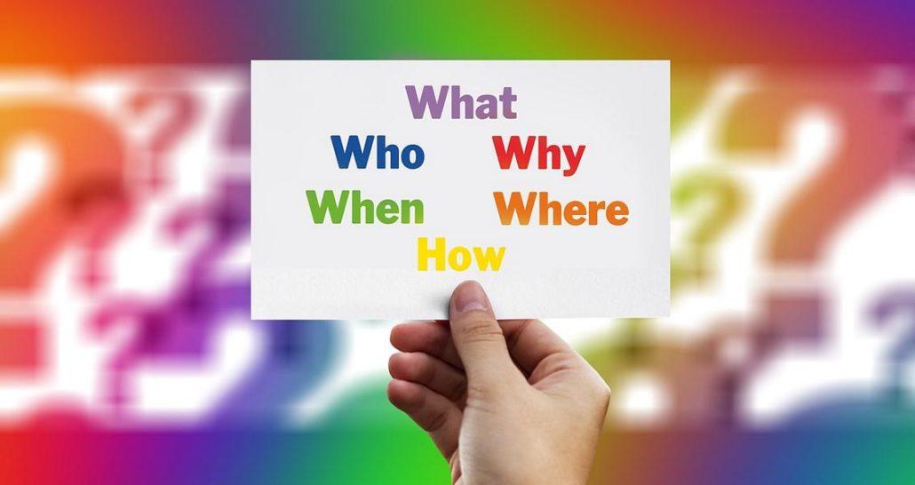 Hand mit W-Fragen auf Karte