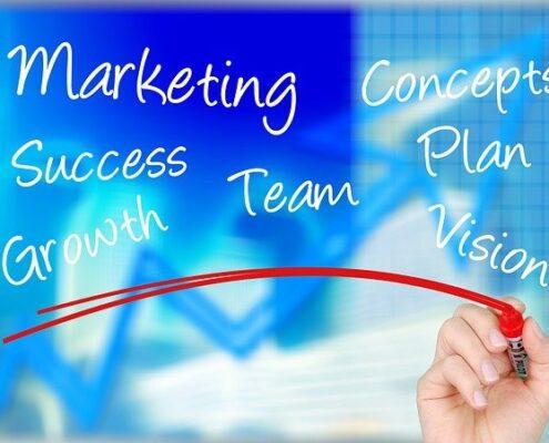Verschiedene Schriftzüge zum Thema Marketing