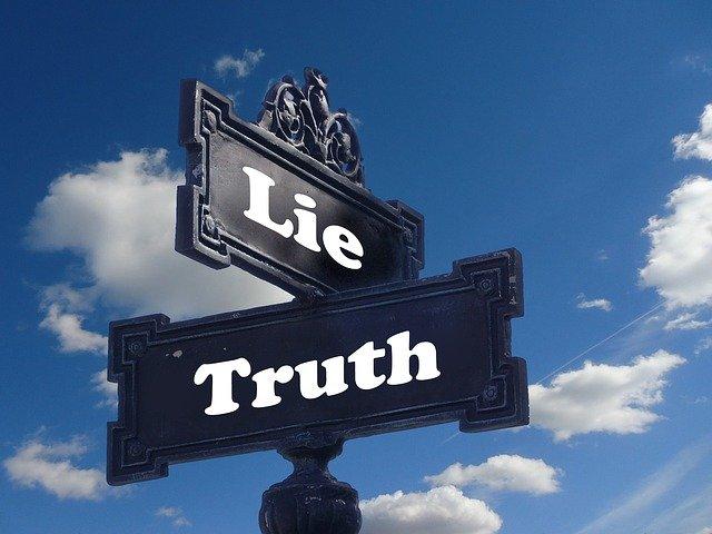 Marketing Scharlatan, Schilder mit Lie und Truth